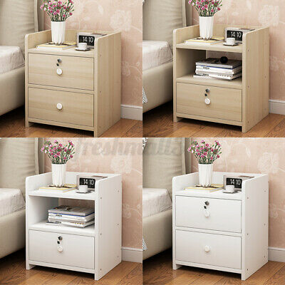 AU40.99 • Buy Bedside Tables Drawers Side Table Storage White Bedroom Nightstand Lamp W/Lock