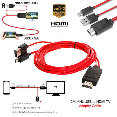 AU6.97 • Buy MHL Micro USB To HDMI 1080P HD TV Cable Cord Adapter For Android Phones 2m Red