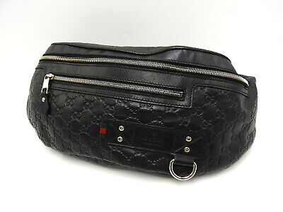 AU1026 • Buy Auth GUCCI GG Web Waist Belt Pouch Body Shoulder Bag Leather Black 246409 V-4498
