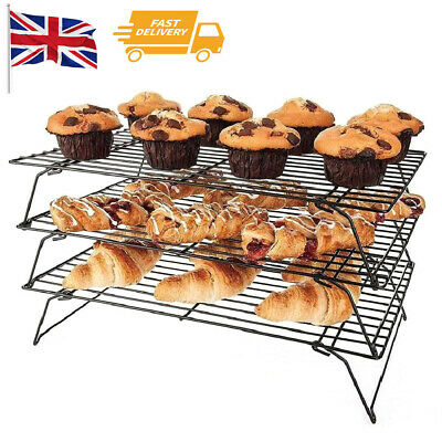£8.39 • Buy 3X Stackable Metal Wire Cake Bread Biscuit Baking Cooling Tray Rack Kitchen Tool