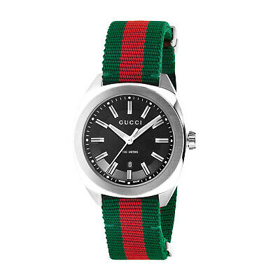 AU849.95 • Buy NEW Genuine GUCCI GG 2570 41mm Green Red Stripe Nylon Strap Mens Watch YA142305