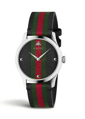 AU899.95 • Buy NEW Genuine GUCCI G-Timeless 38mm Black Dial Leather Strap Mens Watch YA1264079