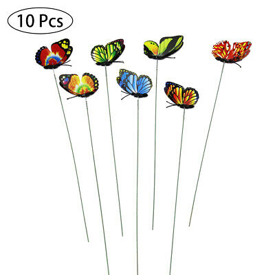 10Pcs Colorful Butterflies Stakes Garden Patio Butterfly Ornaments On Sticks R • 5.59£