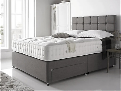 £279.99 • Buy SUEDE MEMORY FOAM DIVAN BED SET WITH MATTRESS HEADBOARD 3FT 4FT6 Double 5FT King