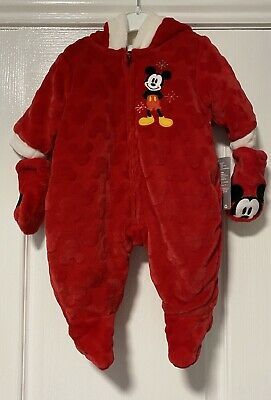Bnwt Disney Store Mickey Mouse Snowsuit Age 0-3 Months • 9.50£