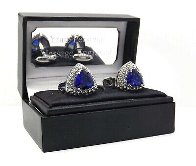 £29.99 • Buy Triangle Cufflinks With Sapphire Blue Swarovski Crystal Personalised Mens Gift