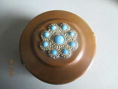 £25 • Buy Vintage  Arts And Crafts Copper Trinkett Box Turquois & Silver Decoration