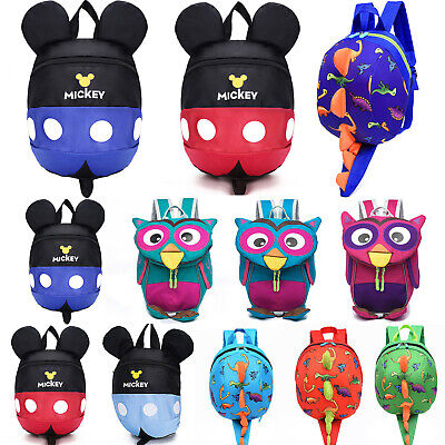 Kids Girl Boy Mickey Cartoon Bag Anti-Lost Safety Reins Walking Toddler Backpack • 9.02£
