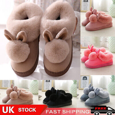 £9.11 • Buy Womens Bunny Rabbit Plush Slippers Warmer Winter Indoor Slip On Soft Home Shoes