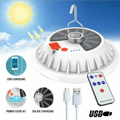 AU21.69 • Buy Rechargeable 60/120 LED Camping Tent Light USB Solar Lantern Outdoor Grden Lamp