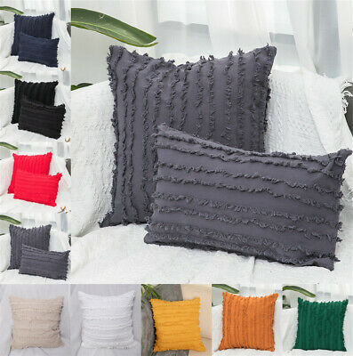 UK Tassels Striped Cushion Cover Cotton Linen Throw Pillow Cases Sofa Home Decor • 7.19£