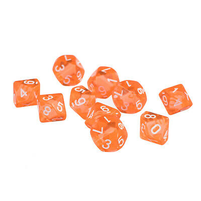 AU7.99 • Buy D10 Die Dice Games For TRPG Dungeons U0026 Dragons Plastic Color Orange