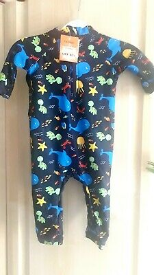 Baby Boy Swim Suit With Hat SPF Sun UV 40 Protection Clothing 3 - 6 Months New • 7.50£