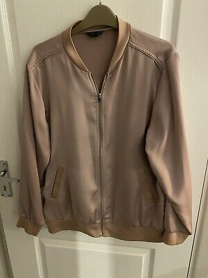 Womens Pink Silk Bomber Jacket Size 14 Topshop • 7£