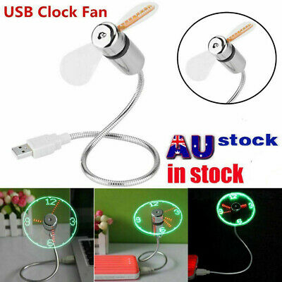 AU19.86 • Buy 1PC LED Clock USB Fan Powered Cooling Flashing Real Time Display Function Mini
