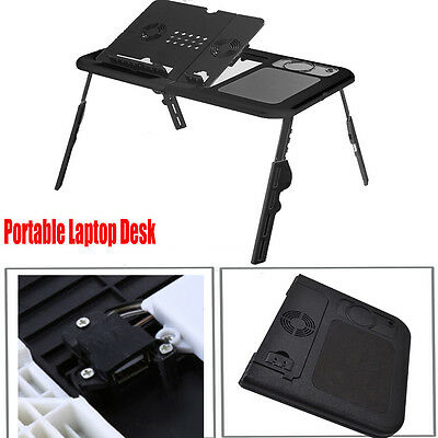 Laptop Desk Folding Computer Table 15 Inches Notebook Stand Tray With USB Fan UK • 12.99£