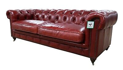 Chesterfield Halo Luxury Vintage Distressed Real Leather 3 Seater Sofa Red  • 1,382.80£