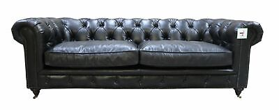 Chesterfield Halo Luxury Vintage Distressed Real Leather 3 Seater Sofa Black • 1,382.80£