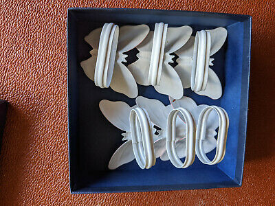 6 Butterfly Serviette / Napkin Rings Holders Boxed 7cms Wide + Candle Holder • 5.75£