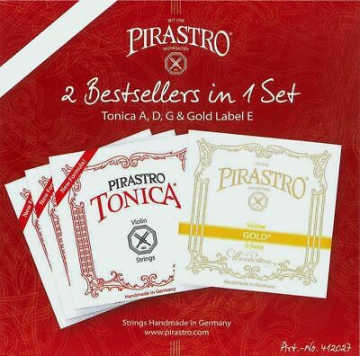 $25 • Buy Pirastro Tonica Violin String Set 4/4 With Gold Label E String Ball End, Medium