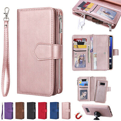 AU22.88 • Buy For Samsung S8 S20+ Note 20 Detachable Magnetic Leather Wallet Zipper Case Cover