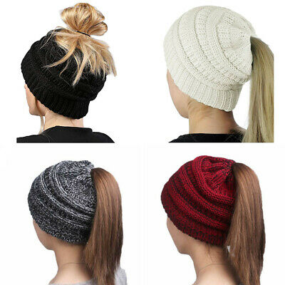£3.49 • Buy Cold Weather Thermal Cable Knit Beanie Hat Ponytail Messy Bun Tail With Hole