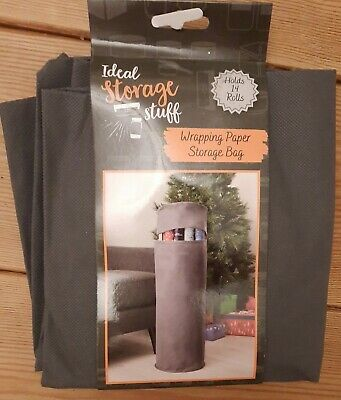 £8.49 • Buy Christmas Xmas Wrapping Paper Storage Bag Grey Holds Up To 14 Rolls