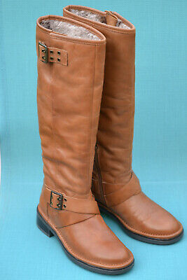 Clarks Ladies Knee-High Boots NEROL FIG Tan Warm-lined Leather UK 5 / 38 • 49.95£
