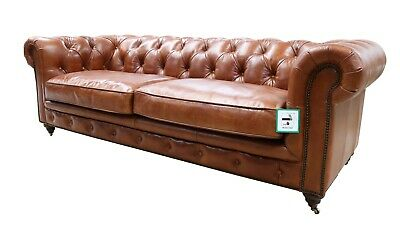 Chesterfield Halo Luxury Vintage Distressed Real Leather 3 Seater Sofa Tan  • 1,382.80£