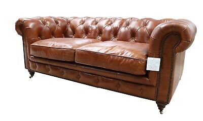 Chesterfield Halo Luxury Vintage Distressed Real Leather 2 Seater Sofa Tan  • 1,164.95£