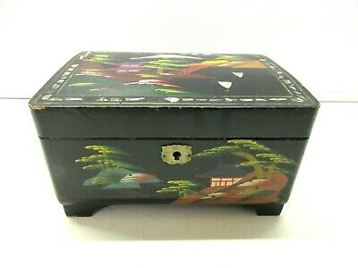 £21.99 • Buy Vintage Oriental Lacquered And Hand Painted  Jewellery Box Chest With Distressed