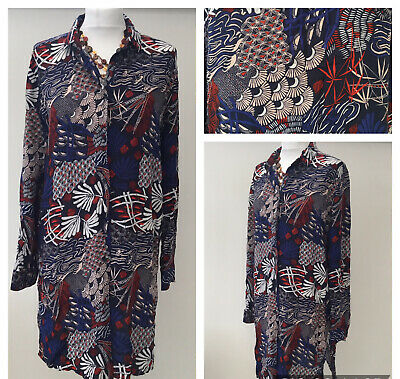 H&M Uk 16 Shirt Dress Casual Relaxed Red Blue Button Up Collared • 17.99£