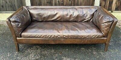 John Lewis Halo Groucho Medium 2 Seater Leather Sofa Dark Antique Brown • 895£