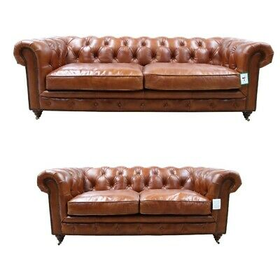 Chesterfield Halo Luxury Vintage Distressed Real Leather 3 + 2 Seater Sofa Tan • 2,499£