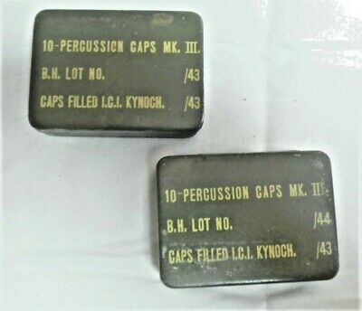 1943/4 Dated WW2 Percussion Cap Tins British Army PIAT Paratrooper Home Guard X2 • 20£
