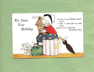 Cute GIRL, PUPPY DOG Colorful A/S MABEL LUCIE ATWELL Vintage BIRTHDAY Postcard • 3.37£
