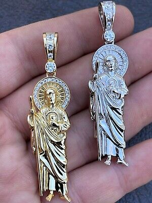 $36.88 • Buy Men's Real Solid 925 Sterling Silver / Gold St Jude San Judas Tadeo Iced Pendant