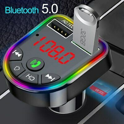 Bluetooth 5.0 Wireless Car FM Transmitter MP3 Player 2 USB Charger Kit RGB Light • 6.99£