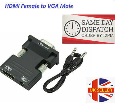 1080P HDMI Female To VGA Male With Audio Output Cable Converter Adapter Lead UK • 3.47£