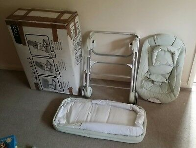 Icoo I'coo Grow With 123 Me Bassinet Bouncer Mp3 No High Chair Beige Travel Cot  • 100£