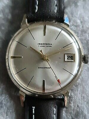 Mens Vintage Gold Tone INGERSOLL 7 Jewel Date Mechanical Wristwatch Made In GB • 30£