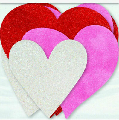 £2.89 • Buy 6 X Valentines Glitter Hearts Cutout Decorations Pink Red White Heart Decoration
