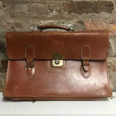 Vintage Brown Leather Shoulder Side Laptop Briefcase Satchel Bag Doctors Used • 14.95£