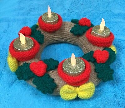 £2.99 • Buy KNITTING PATTERN - Christmas Advent Candle Wreath / Table Decoration 23 Cms