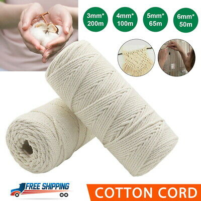 AU10.26 • Buy 3/4/5/6 Mm Macrame Rope Natural Beige Cotton Twisted Cord Artisan Hand Craft