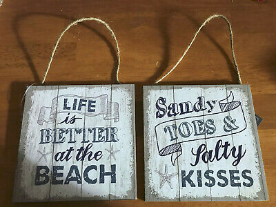 Sandy Toes Salty Kisses Life Better At Beach Wooden Shabby Chic Hanging Sign  • 3.75£