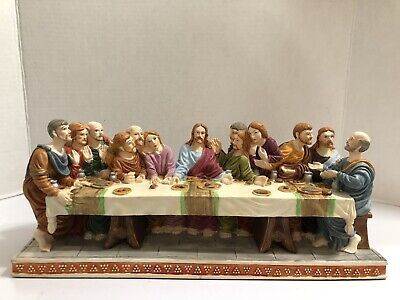 """£43.17 • Buy The Last Supper Of Jesus Christ And The 12 Disciples Painted Statue 14""""X5"""""""