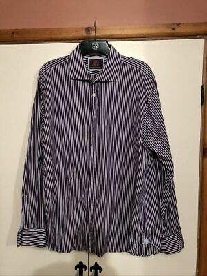 Lovely M&S Sartorial Superior Cotton Shirt Purple And White Stripe Excellent • 4£