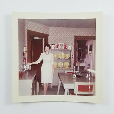 Vintage Snapshot Photo Woman In Mid Century Kitchen China Cabinet Table 1960s • 25.77£