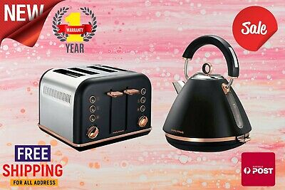AU129 • Buy Morphy Richards Black Accents Rose Gold 1.5L Pyramid Kettle And 4 Slice Toaster